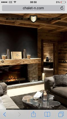 Love this fireplace from Chalet N, Oberlech Chalet Design, House Design, Chalet Interior, Interior Design, Weekend House, Basement House, Fancy Houses, Lodge Style, Cottage Interiors