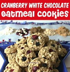 Oatmeal Cookies - Easy Chewy White Chocolate Chip Cranberry Cookie Recipe!  These decadent treats are a holiday must-have, and will disappear as fast as you can make them!  Go grab the recipe and give it a try! Thanksgiving Desserts Easy, Fun Desserts, Dessert Recipes, Christmas Desserts, Christmas Recipes, Christmas Cookies, Baking Recipes, Oatmeal Cookie Recipes, Delicious Cookie Recipes