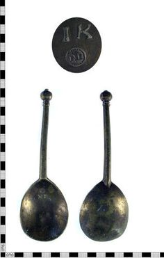 A resized image of A complete late medieval - early post medieval lead alloy spoon dating late 15th - 16th century.
