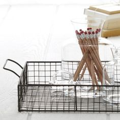 Wire+Serving+Tray+-+Tray+Wire+Anne+Serving - hold smaller mixers+liqueurs on liquor shelf