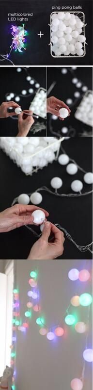 Christmas lights and ping pong balls! Cute idea