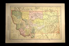Antique Map Montana 1903 State Large Original Early 1900s