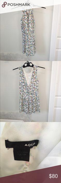 AQUA romper small Worn once. Bloomingdales $200. Cuter in person too! Aqua Dresses Mini
