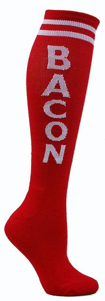 Red knee high socks with BACON in white lettering and cushioned footbed.