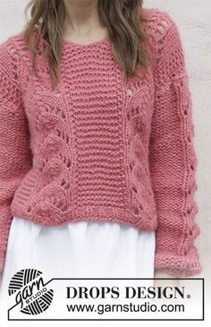 Knitted jumper with V-neck and lace pattern. Sizes S - XXXL. The piece is worked in 2 strands DROPS Air.