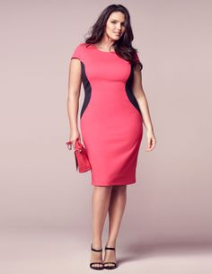 Bicolour dress with cut outs by navabi at navabi. Largest assortment of plus size fashion