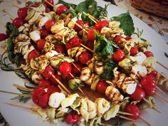 Tomorrow, mozzarella, basil and tortellini on a stick. Perfect finger food for a party. Easy to make and you can store cold in fridge over night to save time. I added meatballs and sun dried tomato to a few