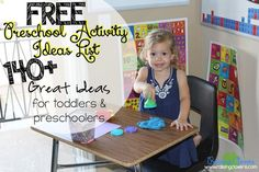 """FREE Preschool Activity List: 140+ Ideas for Toddlers & Preschoolers"" by Raising Clovers - This FREE Preschool Activity List is packed with ideas for activities for your little kids to do! It is an incredible resource to have on hand for those days when you can't think of anything for your little kids to do-when you need to get things done (like homeschool your older kids or just fold a load of laundry). Hope it blesses you! www.raisingclovers.com/2015/05/31/free-preschool-activity-list"