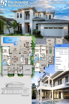 Architectural Designs House Plan 86064BW gives you 4 beds, 5 baths and over 4,500 square feet of heated living space PLUS an observation deck in back. Ready when you are. Where do YOU want to build?