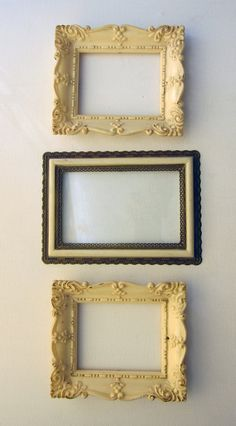 Vintage trio of mid century ornate cream faux marble and faux gilt plastic picture or photo frames