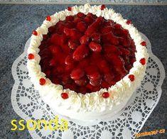 Jednoduchý šlehačkový dort postup | Mimibazar.cz Baked Goods, Acai Bowl, Tart, Recipies, Cheesecake, Food And Drink, Strawberry, Fish, Baking