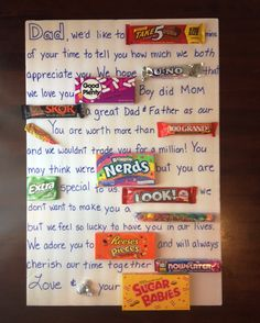 Father's Day Candy Card fathers day party ideas, grandparents day classroom activities, valentines day gifts for dad to be Candy Poster Board, Candy Bar Posters, Candy Board, Diy Gifts For Dad, Diy Father's Day Gifts, Father's Day Diy, Fun Gifts, Candy Birthday Cards, Fathers Day Ideas For Husband