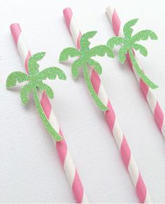 Palm Tree Straws ~ Summer Party~Palm Springs Party ~ Palm Beach Shower~Tropical Party~Tropical Bachelorette~Pink Party Straws Pink and Green
