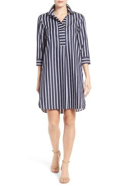 Main Image - Foxcroft Club Stripe Shirtdress (Regular & Petite)