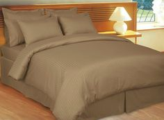 600 Thread Count Three 3 Piece Full Size Taupe Stripe Duvet Cover Set 100 Egyptian Cotton Premium Hotel Quality ** To view further for this item, visit the image link. King Duvet Cover Sets, Comforter Sets, Duvet Covers, Premium Hotel, Egyptian Cotton Bedding, King Pillows, Pillow Shams, Striped Bedding, Bed In A Bag