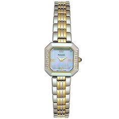 Pulsar Women's PEG748 Diamond Collection Watch Pulsar. $72.50. Quality Japanese-Quartz movement. Case diameter: 19 mm. Two-tone case; Blue-mother-of-pearl dial. Water-resistant to 99 feet (30 M)