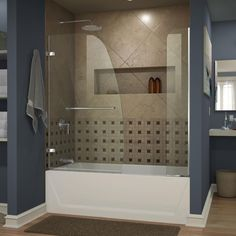 DreamLine Aqua Uno 60 in. x 58 in. Semi-Framed Hinged Tub/Shower Door with Extender in Chrome
