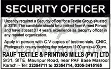 Jobs In Rauf Textile and Printing Mills (Pvt) Ltd Karachi