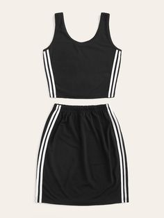 Side Stripe Tank With Skirt Cute Lazy Outfits, Sporty Outfits, Junior Outfits, Outfits For Teens, Trendy Outfits, Cool Outfits, Summer Outfits, Girls Fashion Clothes, Girl Fashion