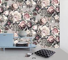 Dark Floral II Gray Sample - Floral Wallpaper Samples - by Ellie Cashman Design