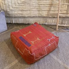 red cactus silk cotton geometric design cushion Red Cactus, Boho Trends, Old Clothes, Beautiful Textures, Modern Bohemian, Floor Cushions, Nursery Room, Dog Bed, Hand Weaving