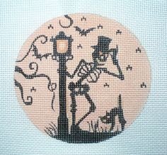 Handpainted Sheleton and Lampost Silhoutte needlepoint by colors1 (Craft Supplies & Tools, Sewing & Needlecraft Supplies, Canvas & Stitchables, ornament, holidays, halloween, decoration, sheleton, cross stitch, embroidery, halloween decor, needlepoint, needlepoint canvas, needlepoint pillow, needlepoint pattern, funny needlepoint)