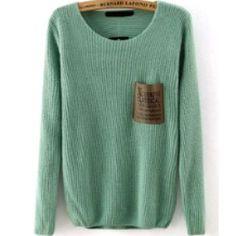 BEAUTIFULSAGE GREEN KNITTED SWEATER!!! Beautiful sage green knitted sweater with a unique front patch pocket!!!! Sweaters Crew & Scoop Necks