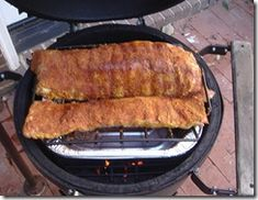 How to cook pork ribs on a Big Green Egg, or any other smoker. Big Green Egg Smoker, Green Egg Grill, Smoked Beef Jerky, Green Egg Recipes, Grilling Recipes, Smoker Recipes, Smoke Grill, How To Cook Pork, Green Eggs