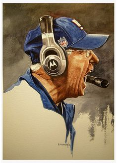 """Portrait of Giants coach Tom Coughlin 10"""" X 14"""" watercolor on Arches 140 lb. paper by artist Bruce Tatman 2012"""