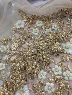 Ayesha Depala Gold flowers and white thread work. Tambour Beading, Tambour Embroidery, Couture Embroidery, Embroidery Fashion, Embroidery Stitches, Hand Embroidery, Embroidery Designs, Zardosi Embroidery, Leather Embroidery