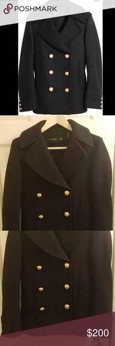 Balmain x h&m jacket Wool blend Balmain x H&M peacoat. Collection sold out instantly, and this coat was worn a few times, but still kept in amazing condition. 100% authentic, please ask me any questions or offers, thanks! Balmain Jackets & Coats Pea Coats