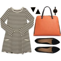 """""""Striped Work Wear"""" by @Matti Franks on @Polyvore #OOTD #flats #stripes  Inspired by #MindyKaling"""
