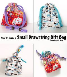 Small, Reusable Drawstring Gift Bag TUTORIAL... Make a lined, reusable bag for gift giving. Step by step instructions showing you how. ~ Threading My Way
