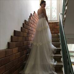 Long Train Vintage Lace wedding dress   Kate by FLORA   strapless   open back