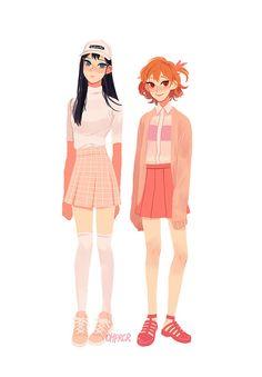 Kageyama Tobio and Hinata Shoyo (girls) JS kags looks            G o o d
