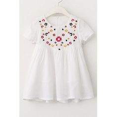 Sweet Short Sleeve Embroidered Mini A-Line Dress For Girl #CLICK! #clothing, #shoes, #jewelry, #women, #men, #hats