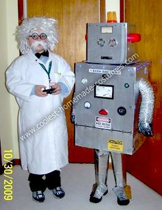 handmade halloween outfits for children | Coolest Homemade Scientist and his Robot Halloween Costumes 41