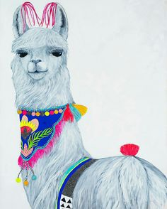 The Art of Cat Lee: Contemporary Australian Artist. Alpacas, Llama Arts, Llama Alpaca, Hand Art, Watercolor Animals, Fauna, Stuffed Animal Patterns, Painting Inspiration, Graphic Illustration