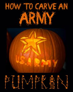 Click here to download a free printable template and carve your own Army pumpkin!