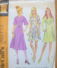 b0e2736e6a Vintage Curved Front and Back Seam Knit Dress with Raglan Sleeves Sewing  Pattern McCalls 2607 Size 12 Bust 34