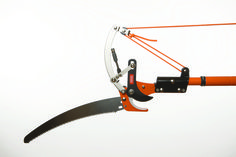 Our pole pruner is a product of years of design. Made with a metal pole for strength and light weight. Designed to not come off the pole and leave the blade and pruner up in a tree where you cannot reach it.