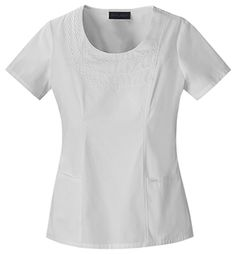 """Baby Phat Round Neck Top in White This stylish round neck top features a tonal embroidered chain necklace along the neckline. The front fish eye dart, back elastic, and side vents add shape to the top. Center back length 26""""  Fabric: Brushed Cotton/Poly Poplin $27.99 #scrubs #nurses #doctors #medicaloutlet #babyphat Baby Phat Scrubs, Cool Baby Stuff, Nurses, Doctors, Poplin, Neckline, Fish, Eye, Shape"""