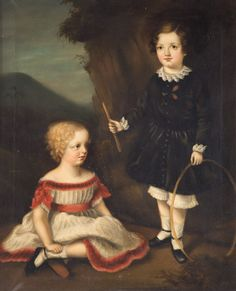 Lot # : 1615a - English School. Portrait of Young Girls, oil