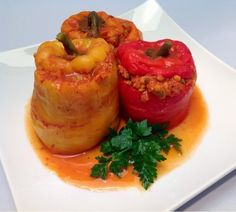 Vegan Red lentils stuffed peppers | From Estee's Kitchen