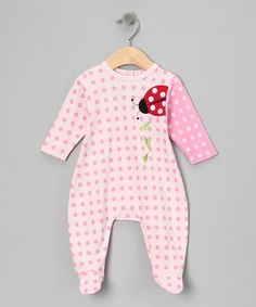 Take a look at this Pink Polka Dot Ladybug Footie by Rumble Tumble on @zulily today!
