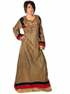 Aljalabiya.com: Cotton Jalabiya with hand embroidery on chest and cuff (N-11486) $79.00