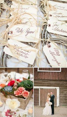 raffia escort cards wooden flower boxed and barn wedding