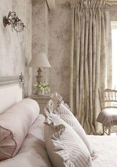 Beautiful neutral bedroom decor with European country style. Kate Forman Textiles. Romantic European Farmhouse Bedroom Decor Ideas!