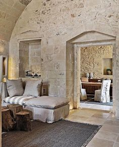 Arched stone living room
