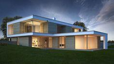 Bildergebnis für haus am hang garage Architectural House Plans, Architectural Digest, Modern Villa Design, Roof Design, Modern Buildings, Model Homes, Home Interior Design, Future House, Architecture Design